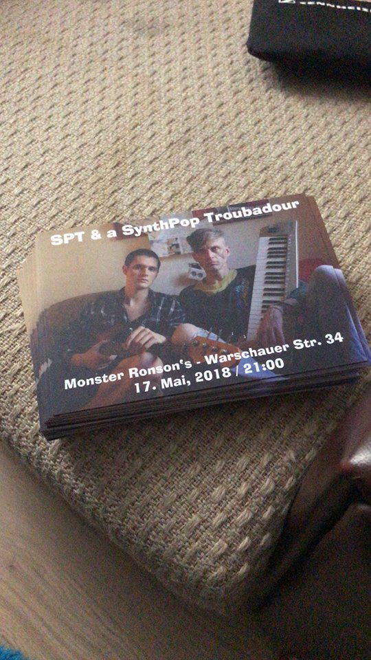 spt synth pop troubadour freshly printed flyers on recycled paper